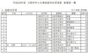 平成28年度 大阪市中小企業技能功労者表彰2